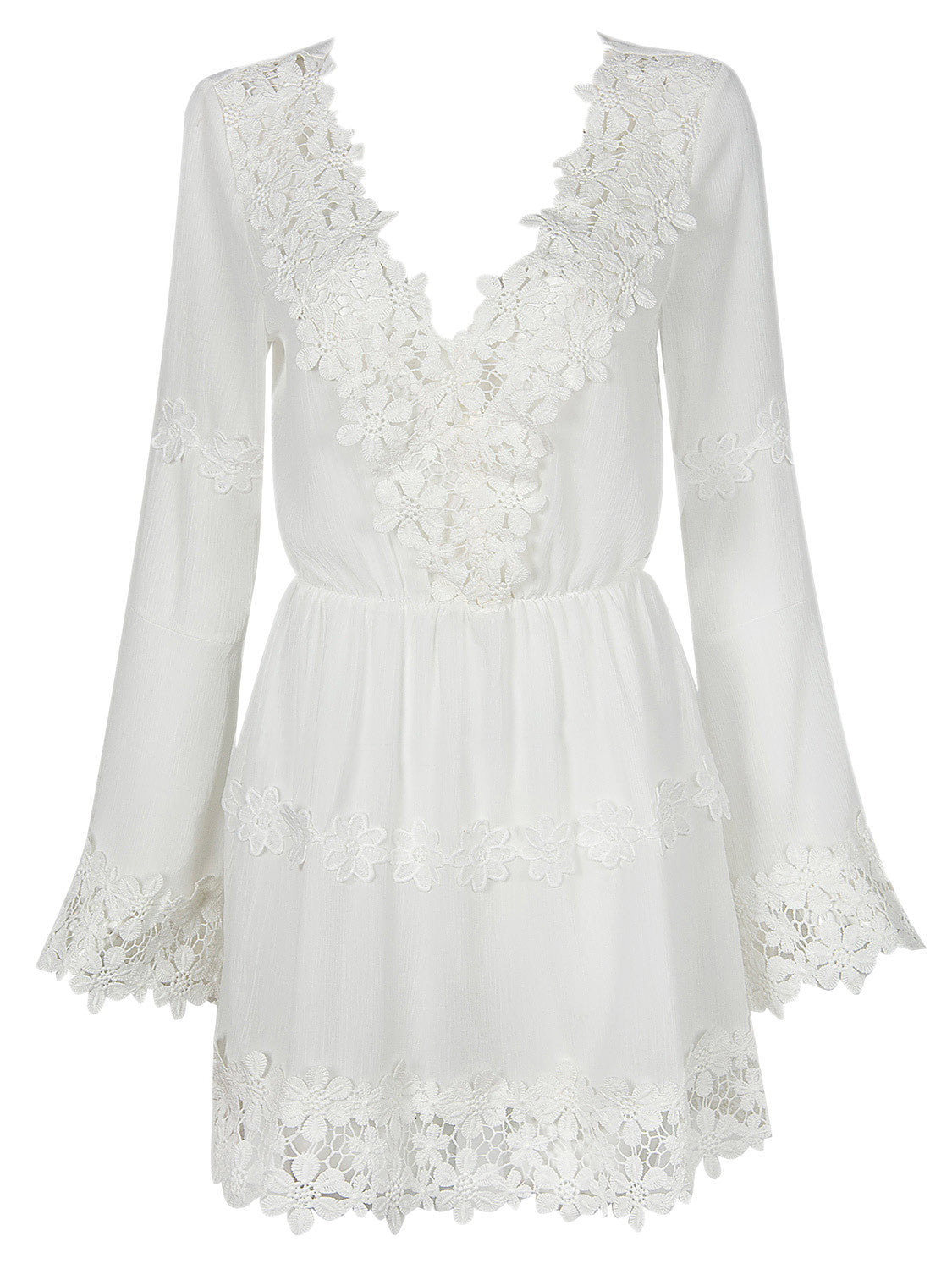 White V-neck Applique Trims Flare Sleeve Dress - MYNYstyle - 4
