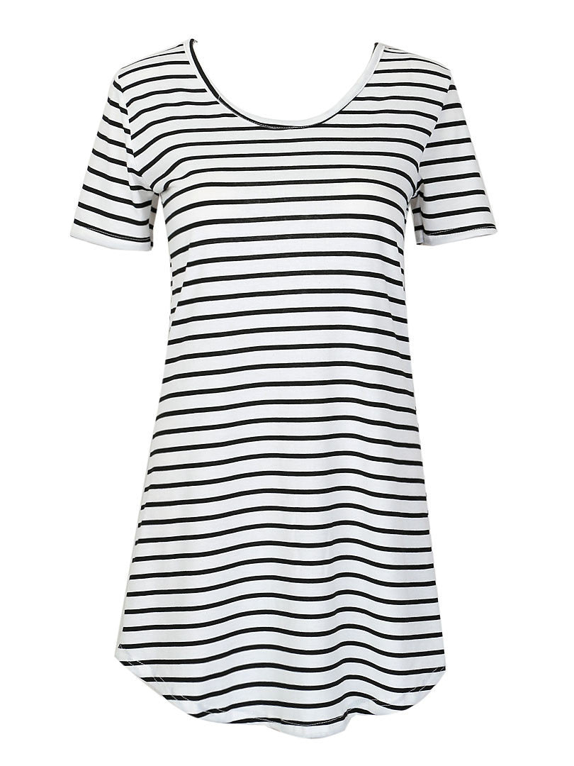 Monochrome Stripe Short Sleeve Shift Dress - chiclookcloset