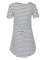 Monochrome Stripe Short Sleeve Shift Dress - MYNYstyle - 8