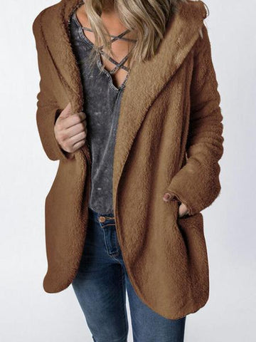 Brown Pocket Detail Long Sleeve Women Fluffy Hooded Coat
