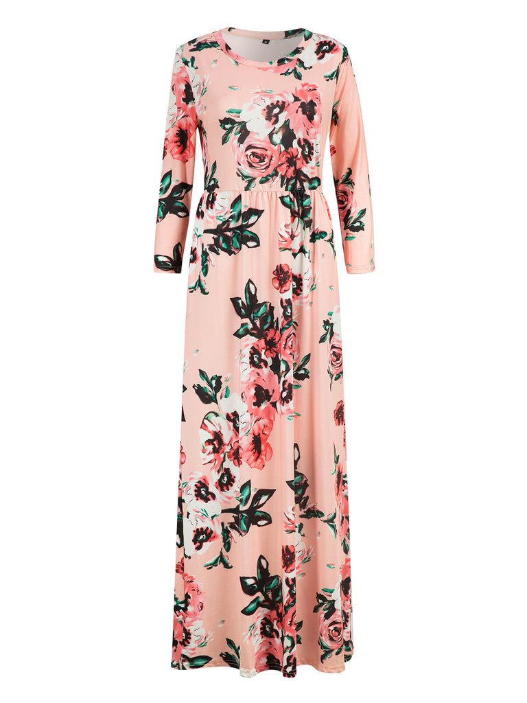 007fd53fd Pink Floral Long Sleeve Maxi Dress – chiclookcloset