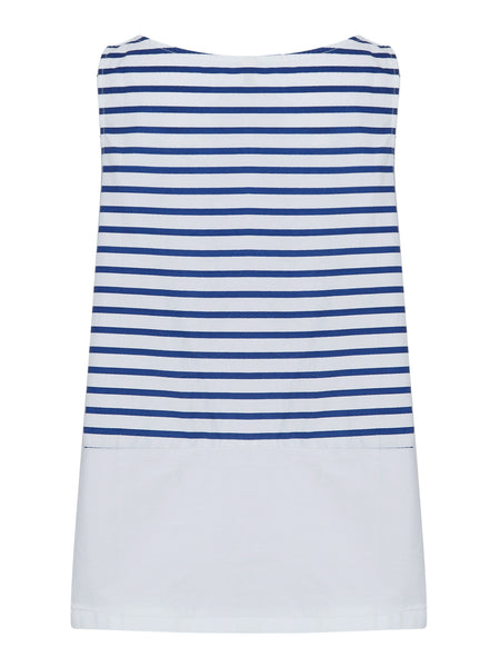 White Stripe Sleeveless Longline Swing Top