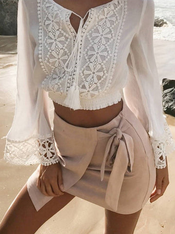 White Tie Front Lace Detail Flared Sleeve Cropped Blouse Top