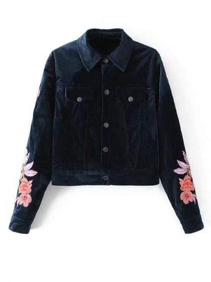 Navy Blue Lapel Embroidery Floral Long Sleeve Velvet Coat