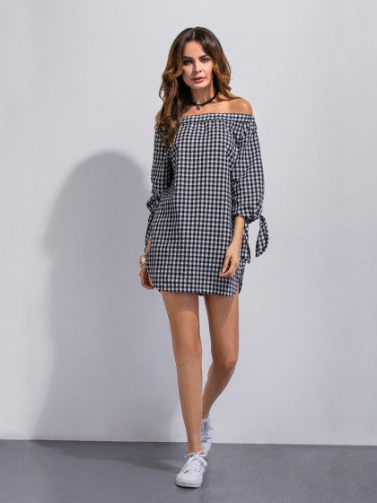 Monochrome Off Shoulder Gingham Print Tied Cuffs Shift Dress