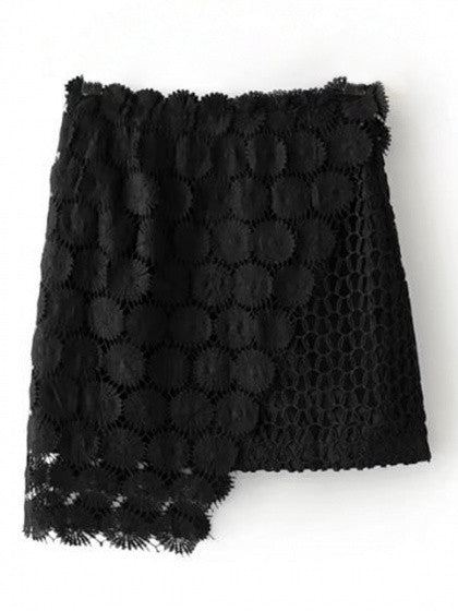 Black High Waist Asymmetric Hem Crochet Lace Skirt
