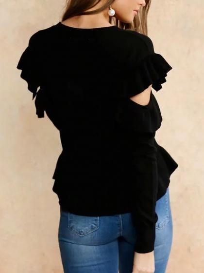 Black Cold Shoulder Ruffle Trim Long Sleeve Knit Sweater