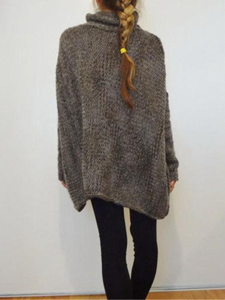 Dark Gray High Neck Drop Shoulder Knit Sweater
