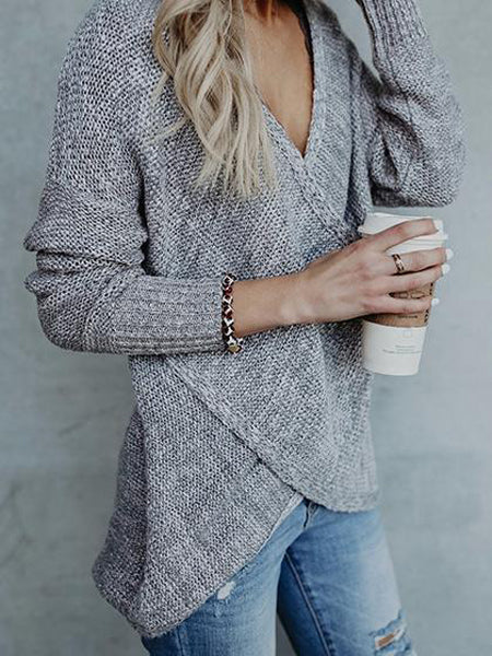 Gray V-neck Wrap Front Long Sleeve Knit Sweater