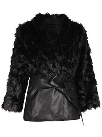 Black Leather Panel Tie Waist Faux Fur Coat