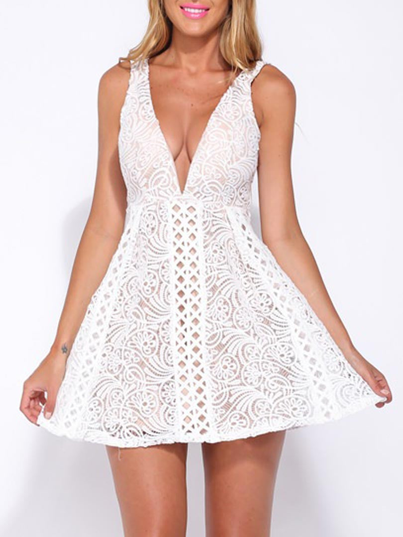 White Double V-neck Lace Crochet Lined Dress - MYNYstyle - 1