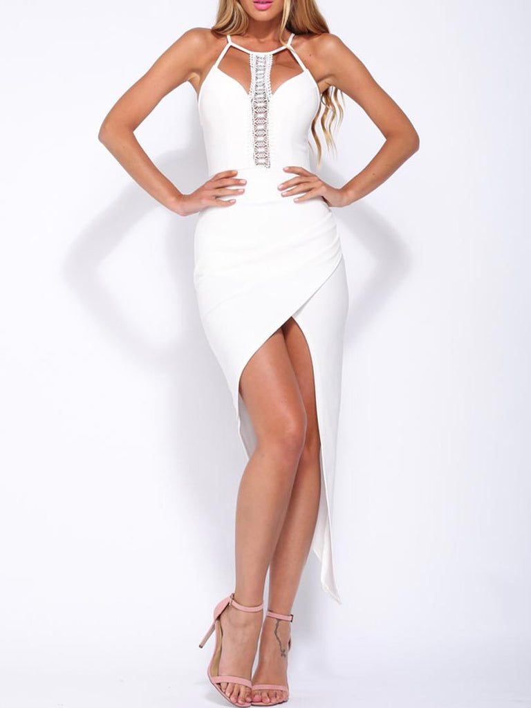 White Crochet Panel Cut Out Front Asymmetric Wrap Dress - MYNYstyle - 1