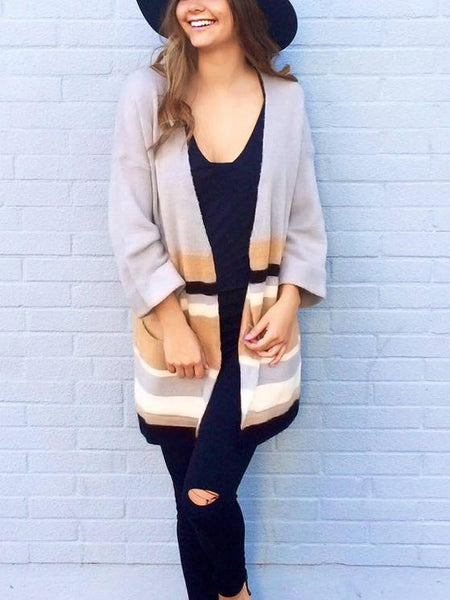 Color Block Open Front Long Sleeve Cardigan