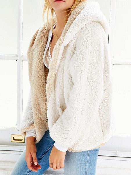 Reversible Faux Fur Hooded Coat-Beige - MYNYstyle - 1