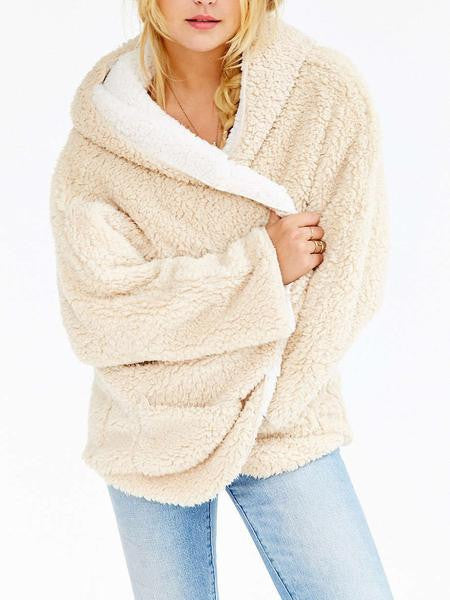 Reversible Faux Fur Hooded Coat-Beige - MYNYstyle - 2