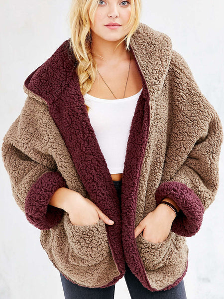 Reversible Faux Fur Hooded Coat-Burgundy