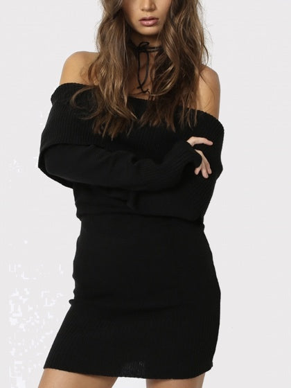 Black Foldover Off Shoulder Long Sleeve Knitted Dress