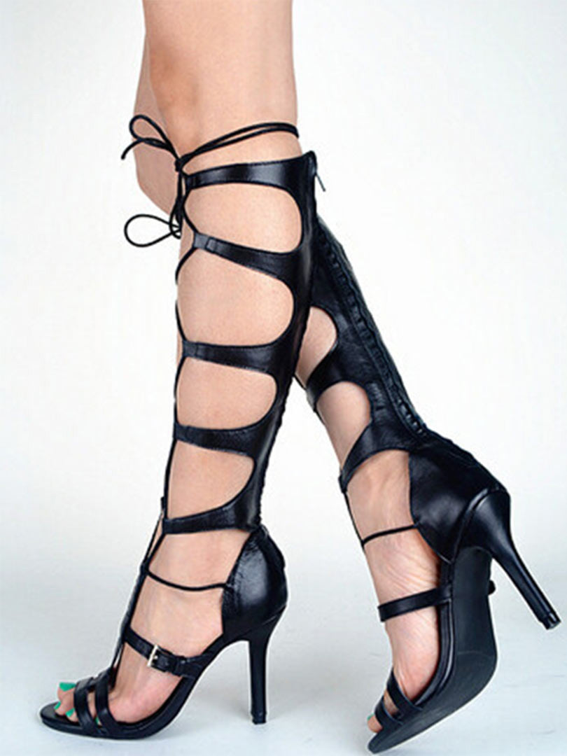 Black Lace Up Buckle Gladiator Heeled Sandals - MYNYstyle - 2