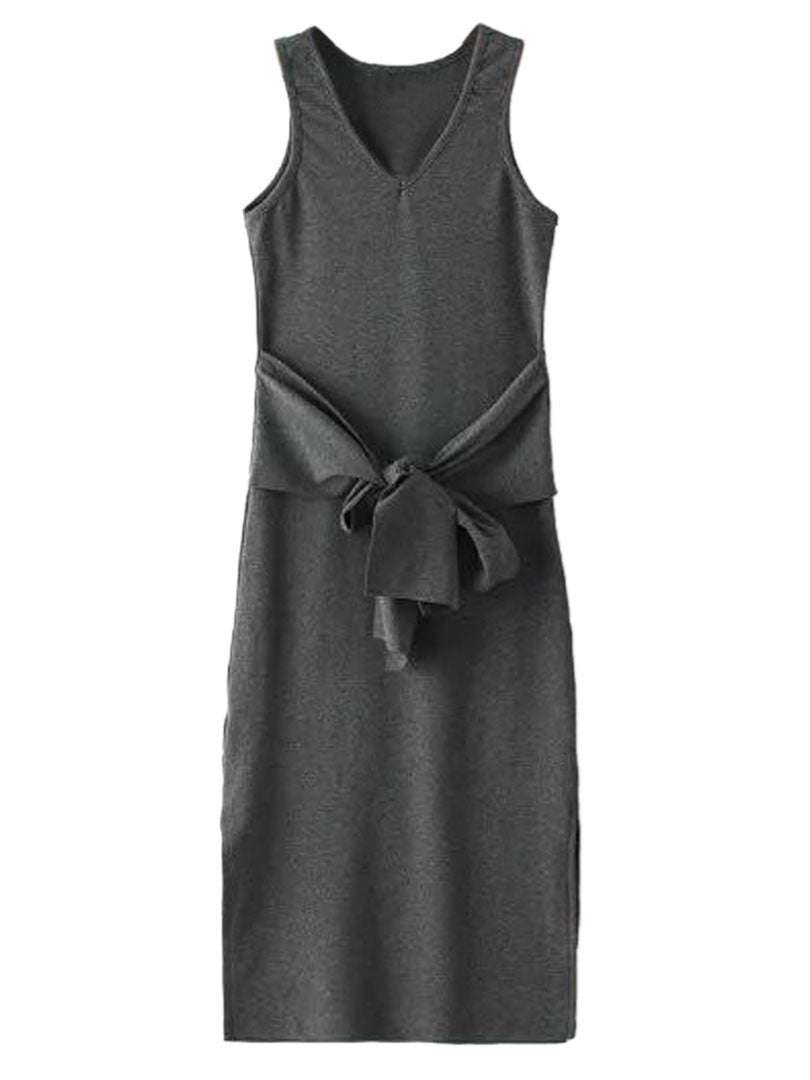 Deep Gray V-neck Tie Front Side Split Ribbed Dress - MYNYstyle - 2