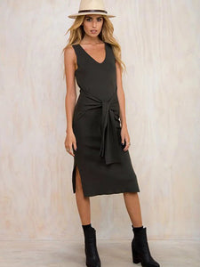 Deep Gray V-neck Tie Front Side Split Ribbed Dress - MYNYstyle - 1