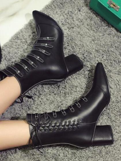 Black Leather Pointed Toe Strap Detail Lace Up Side Ankle Boots