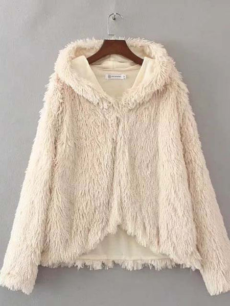 White Fluffy Faux Fur Hooded Coat