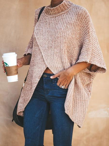 Khaki High Neck Asymmetric Hem Long Sleeve Knit Sweater