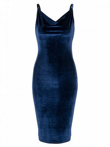 Navy Cowl Neck Velvet Cami Bodycon Dress