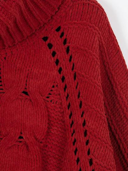 Red High Neck Chunky Cable Long Sleeve Sweater