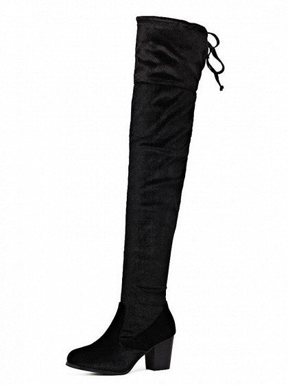 Black Lace Up Back Stretch Velvet Block Over The Knee Boots - MYNYstyle - 1