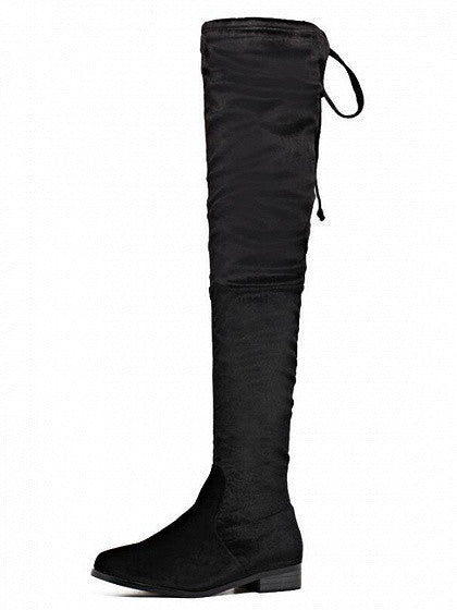 Black lace up back stretch velvet over the knee boots mynystyle 1