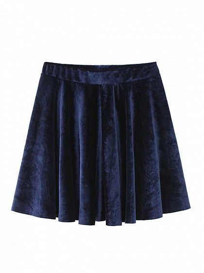 Navy High Waist Velvet Skater Skirt
