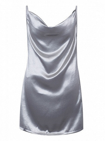 Silver Drape V-neck Cami Dress