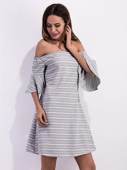 Gray Stripe Off Shoulder Open Back Ruffle Sleeve Dress