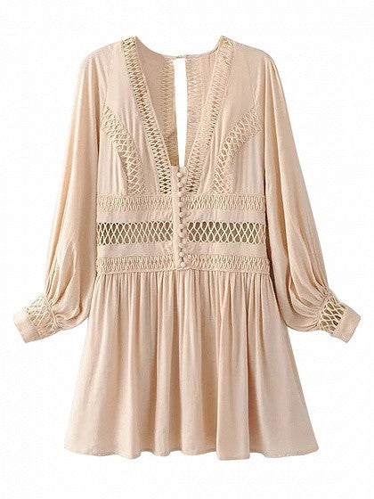 Nude Plunge V-neck Cut Out Detail Back Split Long Sleeve Dress