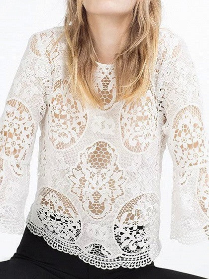 White Crochet Lace 3/4 Sleeve Blouse