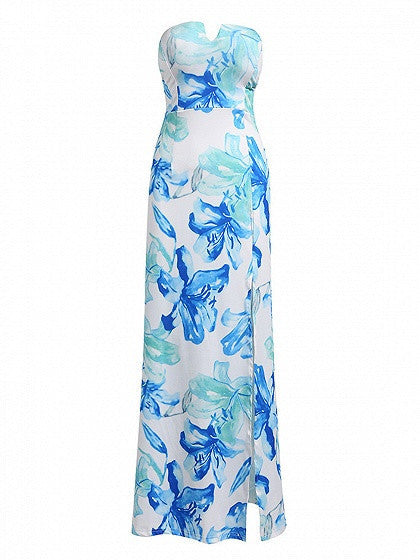 Multicolor Strapless Sweetheart Thigh Split Maxi Dress