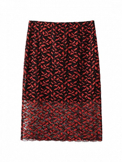 Red High Waist Lace Pencil Skirt