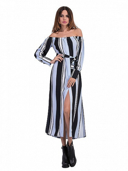Blue Color Block Off Shoulder Stripe Print Split Side Dress