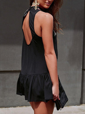 Black Embroidery Floral Open Back Sleeveless Flounced Dress