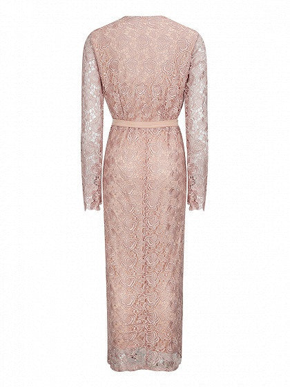 Pink Guipure Lace Overlay Wrap V Neck Long Sleeve Tied Waist Side Split Maxi Dress