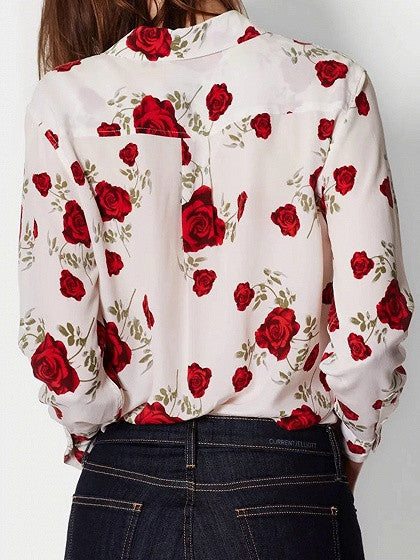 Multicolor Rose Print Pocket Long Sleeve Shirt