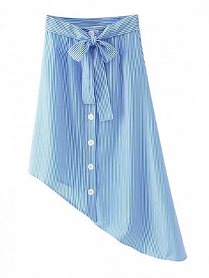 Blue Stripe High Waist Asymmetric High-Low Hem Bow Tied Skirt
