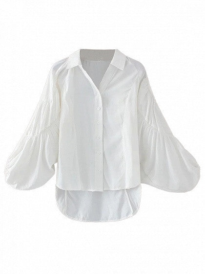 White Ruched Detail Bell Sleeve Dipped Hem Shirt