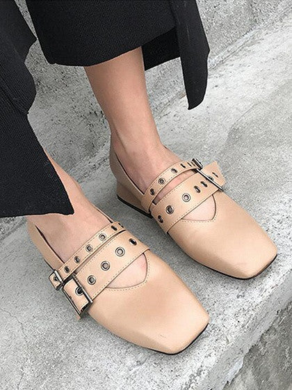 Khaki Contrast Buckle Detail Square Toe Shoes