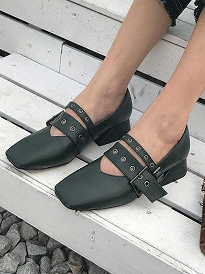 Dark Green Buckle Detail Square Toe Shoes