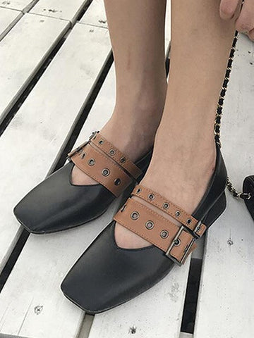 Black Contrast Buckle Detail Square Toe Shoes