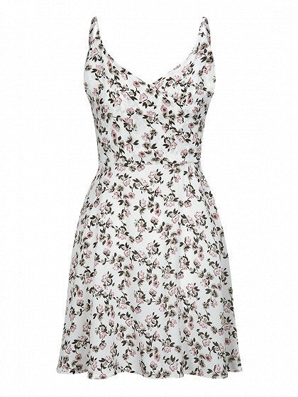 White Wrap Front Floral Print Cami Fit and Flare Dress