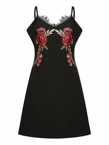 Black Floral Embroidery Lace Trim Cami Dress