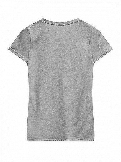 Gray Round Neck Short Sleeve Basic T-shirt Top